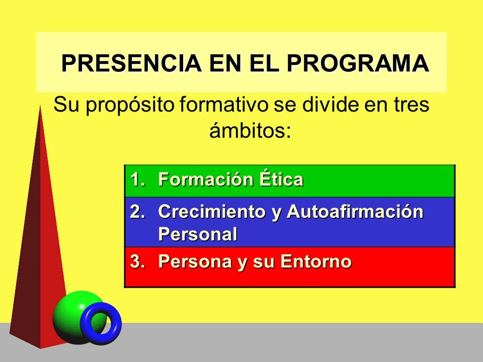 PRESENCIA EN EL PROGRAMA PRESENCIA EN EL PROGRAMA Su propósito formativo se divide en tres ámbitos: 1.Formación Ética 2.Crecimiento y Autoafirmación P