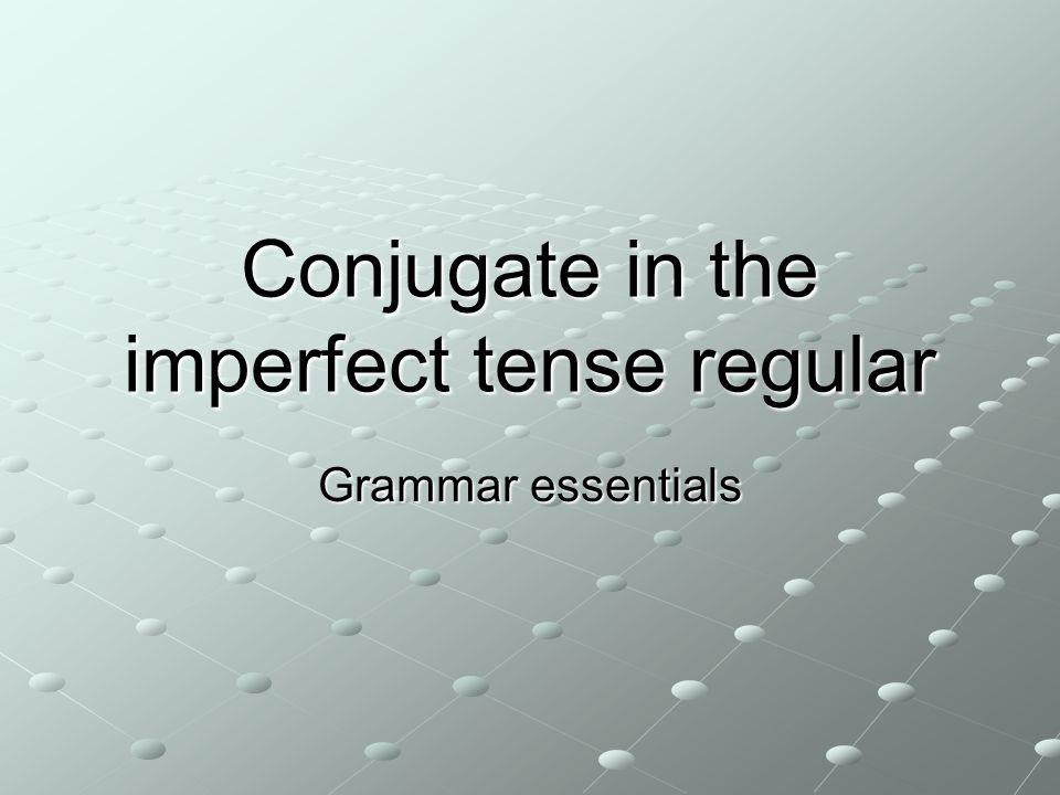 Conjugate in the imperfect tense regular Grammar essentials