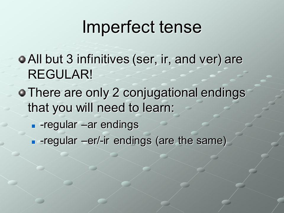 Imperfect conjugation regular –ar endings Yo-abaNosotros/as-ábamos Tú-abasVosotros/as-abais Él Ella -aba UstedEllos Ellas -aban Ustedes