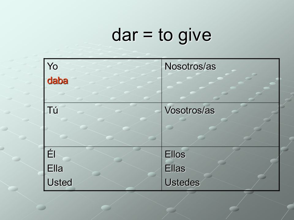 dar = to give YodabaNosotros/as TúVosotros/as ÉlEllaUstedEllosEllasUstedes