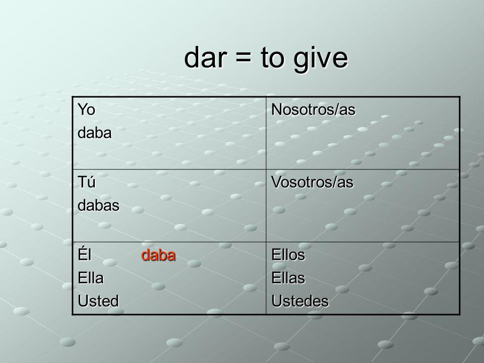 dar = to give YodabaNosotros/as dábamos TúdabasVosotros/as Él Ella daba UstedEllosEllasUstedes