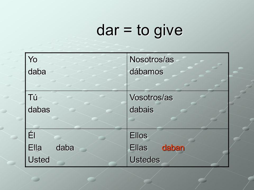 dar = to give YodabaNosotros/as dábamos TúdabasVosotros/asdabais Él Ella daba UstedEllos Ellas daban Ustedes