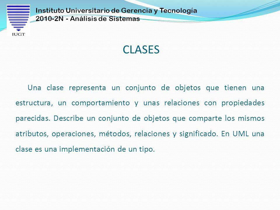 Instituto Universitario de Gerencia y Tecnología 2010-2N - Análisis de Sistemas CLASES Una clase representa un conjunto de objetos que tienen una estructura, un comportamiento y unas relaciones con propiedades parecidas.