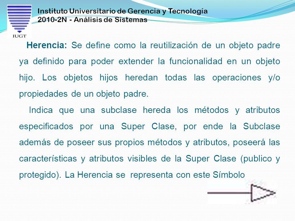 Instituto Universitario de Gerencia y Tecnología 2010-2N - Análisis de Sistemas Herencia: Se define como la reutilización de un objeto padre ya definido para poder extender la funcionalidad en un objeto hijo.