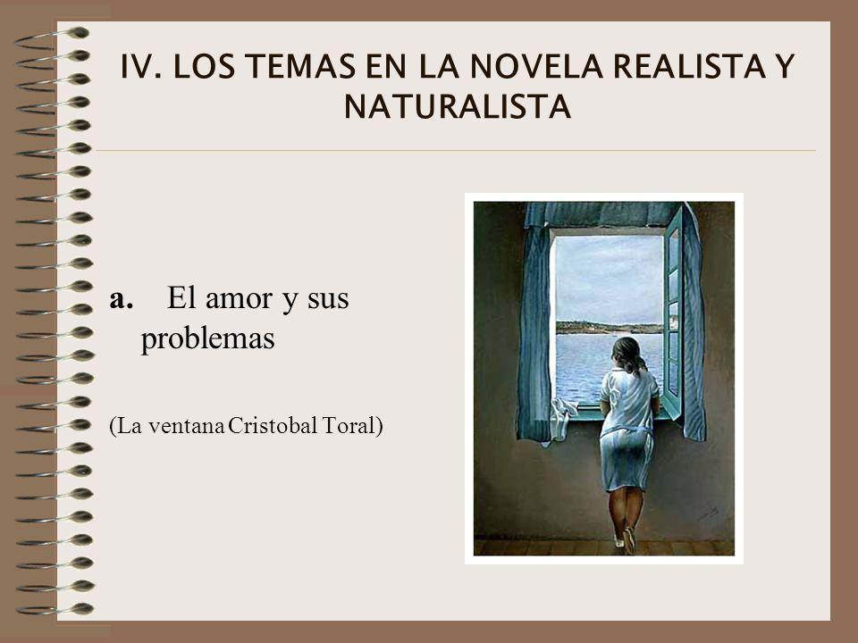 IV. LOS TEMAS EN LA NOVELA REALISTA Y NATURALISTA a. El amor y sus problemas (La ventana Cristobal Toral)