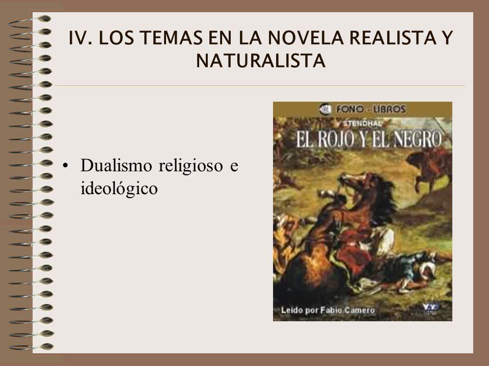 IV. LOS TEMAS EN LA NOVELA REALISTA Y NATURALISTA Dualismo religioso e ideológico