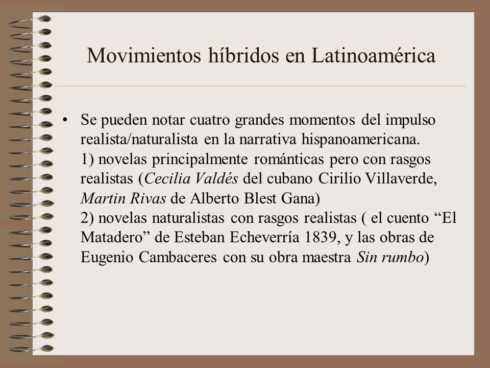 Movimientos híbridos en Latinoamérica Se pueden notar cuatro grandes momentos del impulso realista/naturalista en la narrativa hispanoamericana. 1) no
