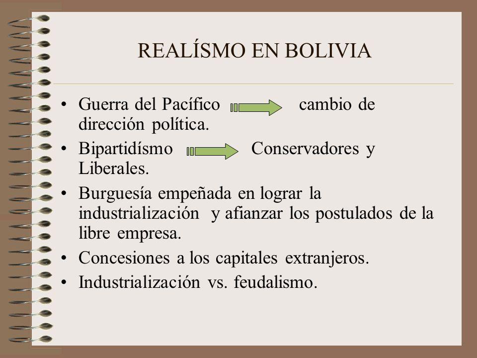 REALÍSMO EN BOLIVIA Guerra del Pacíficocambio de dirección política. BipartidísmoConservadores y Liberales. Burguesía empeñada en lograr la industrial