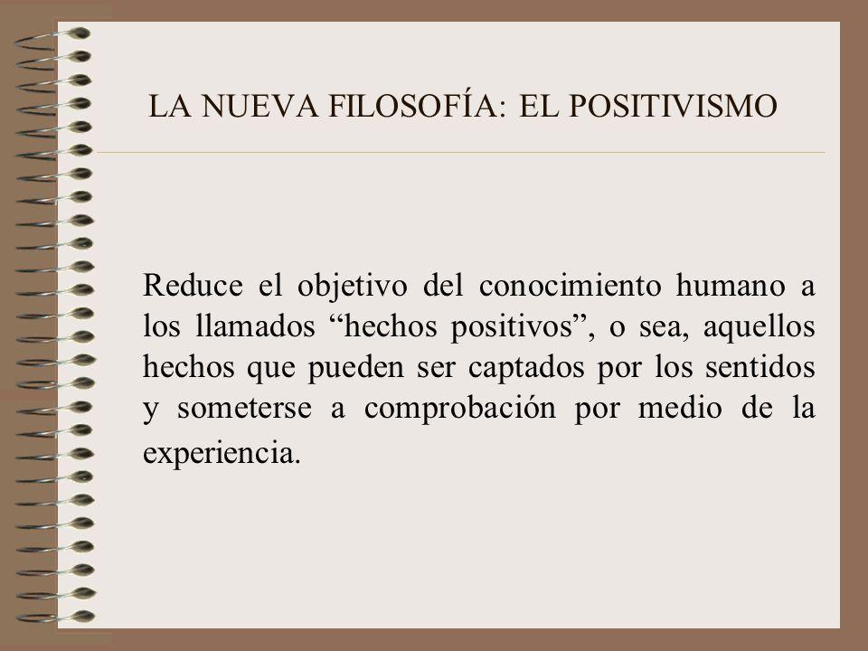 LA NUEVA FILOSOFÍA: EL POSITIVISMO Reduce el objetivo del conocimiento humano a los llamados hechos positivos, o sea, aquellos hechos que pueden ser c