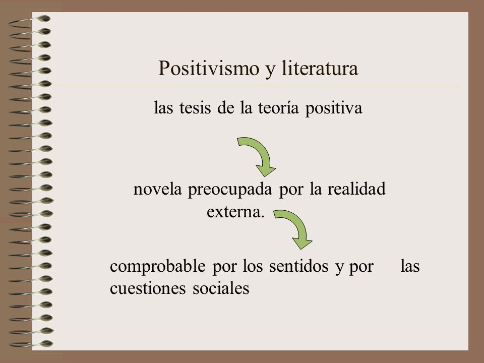 Positivismo y literatura las tesis de la teoría positiva novela preocupada por la realidad externa. comprobable por los sentidos y por las cuestiones