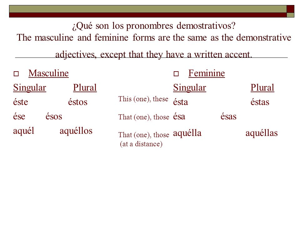 ¿ Qué son los pronombres demostrativos? In Spanish, as in English, pronouns take the place of nouns. Each has a neuter form (it). The neuter forms, wh