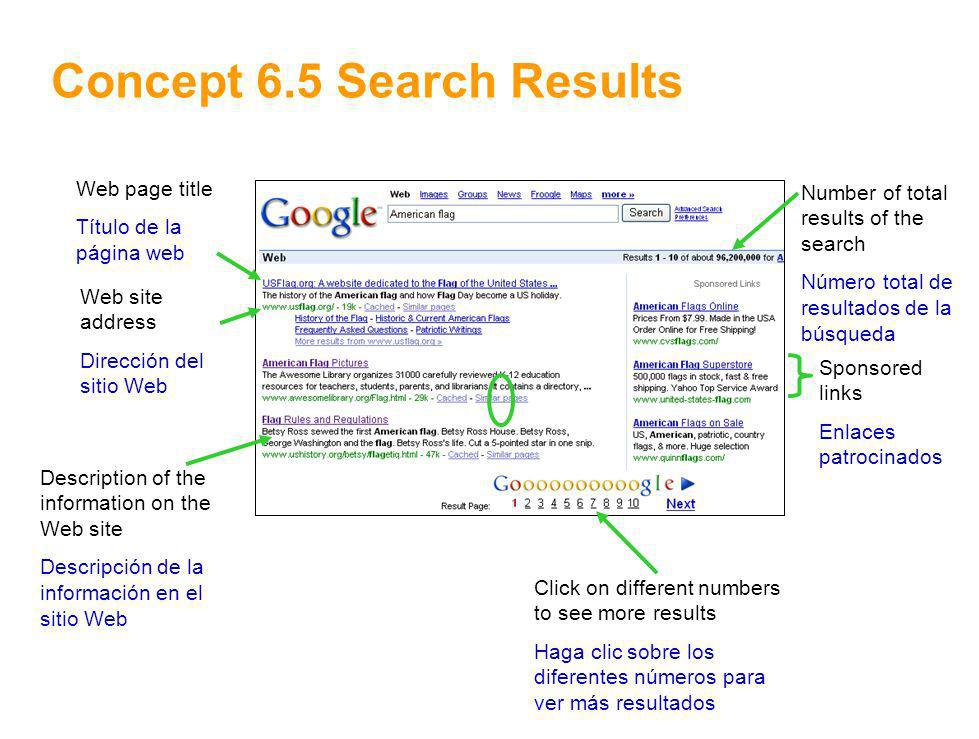 10 Concept 6.5 Search Results Web page title Título de la página web Web site address Dirección del sitio Web Description of the information on the We