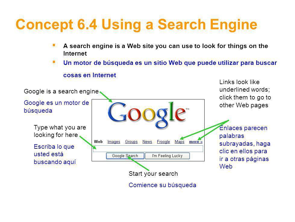9 Concept 6.5 Search Results Google displays the search results here Google muestra los resultados de búsqueda aquí