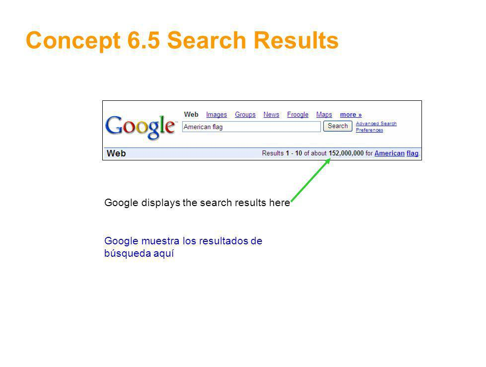 9 Concept 6.5 Search Results Google displays the search results here Google muestra los resultados de búsqueda aquí