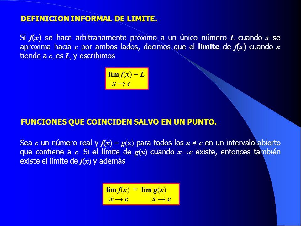 DEFINICION INFORMAL DE LIMITE. Si f ( x ) se hace arbitrariamente próximo a un único número L cuando x se aproxima hacia c por ambos lados, decimos qu