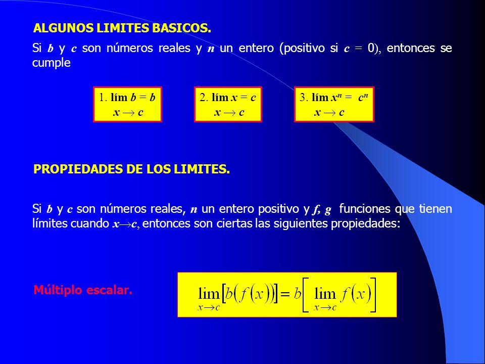 PROPIEDADES DE LOS LIMITES. Si b y c son números reales, n un entero positivo y f, g funciones que tienen límites cuando x c, entonces son ciertas las
