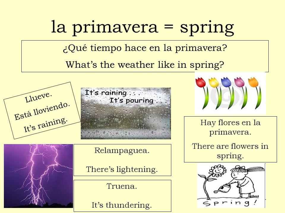 la primavera = spring ¿Qué tiempo hace en la primavera? Whats the weather like in spring? Llueve. Está lloviendo. Its raining. Hay flores en la primav