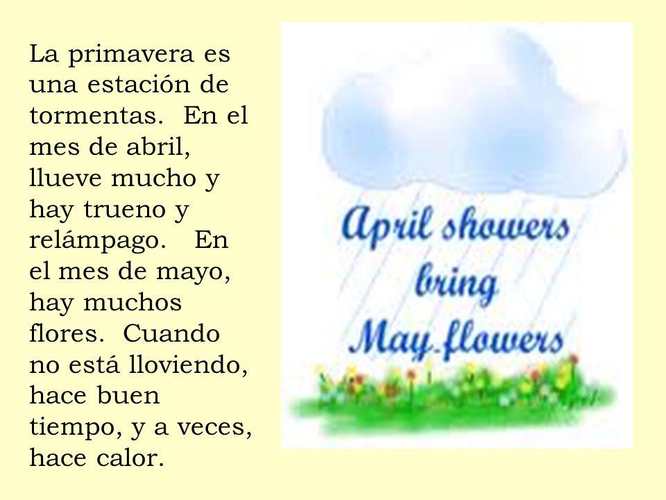 La primavera es una estación de tormentas. En el mes de abril, llueve mucho y hay trueno y relámpago. En el mes de mayo, hay muchos flores. Cuando no