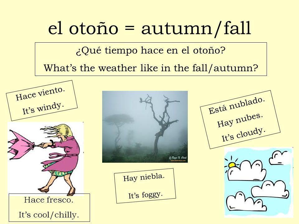 El otoño es una estación muy bonita (pretty).Los árboles cambian de color.