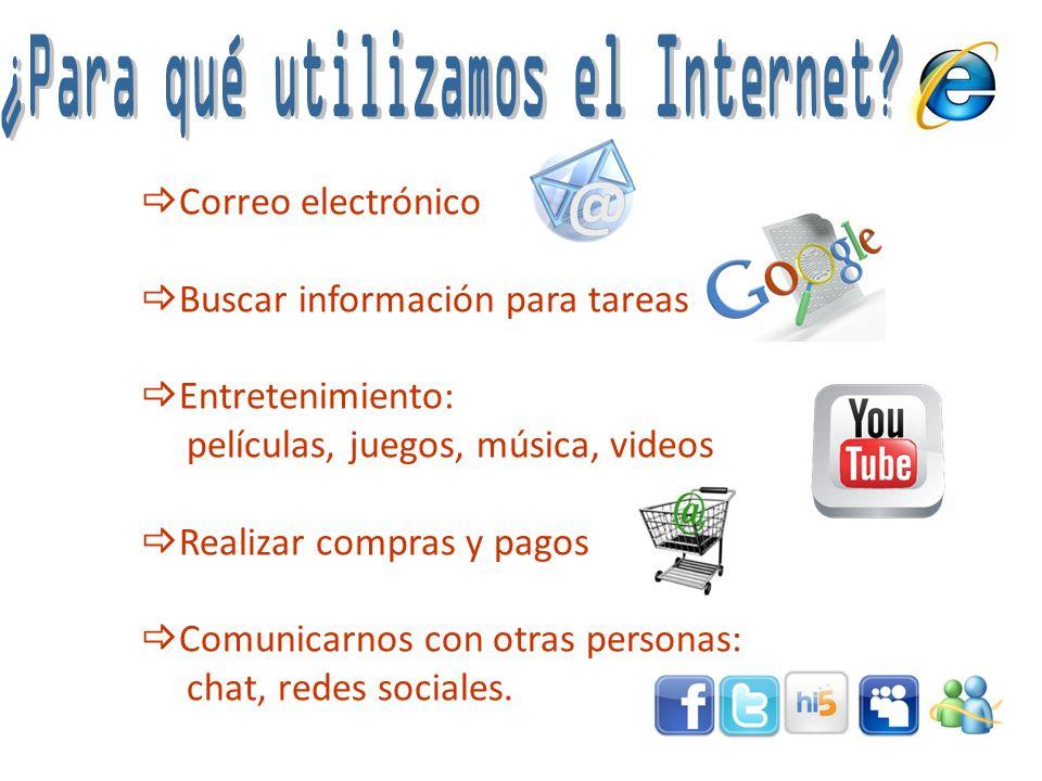 Correo electrónico Buscar información para tareas Entretenimiento: películas, juegos, música, videos Realizar compras y pagos Comunicarnos con otras p