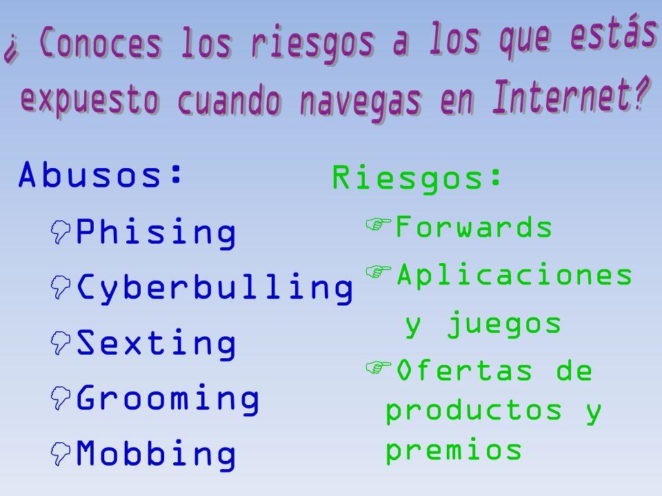 Riesgos: Forwards Aplicaciones y juegos Ofertas de productos y premios Abusos: Phising Cyberbulling Sexting Grooming Mobbing