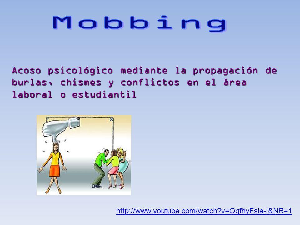 http://www.youtube.com/watch?v=OgfhyFsia-I&NR=1 Acoso psicológico mediante la propagación de burlas, chismes y conflictos en el área laboral o estudia