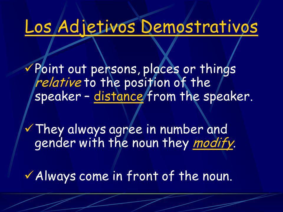 Los adjetivos Singular Plural Los Adjetivos Demostrativos este esta ese esa aquel aquella estos estas esos esas aquellos aquellas this that that (over there) these those those (over there)