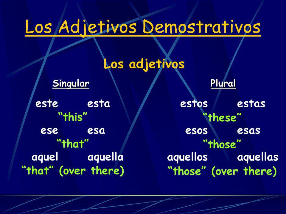 Los adjetivos Singular Plural Los Adjetivos Demostrativos este esta ese esa aquel aquella estos estas esos esas aquellos aquellas this that that (over there) these those those (over there)