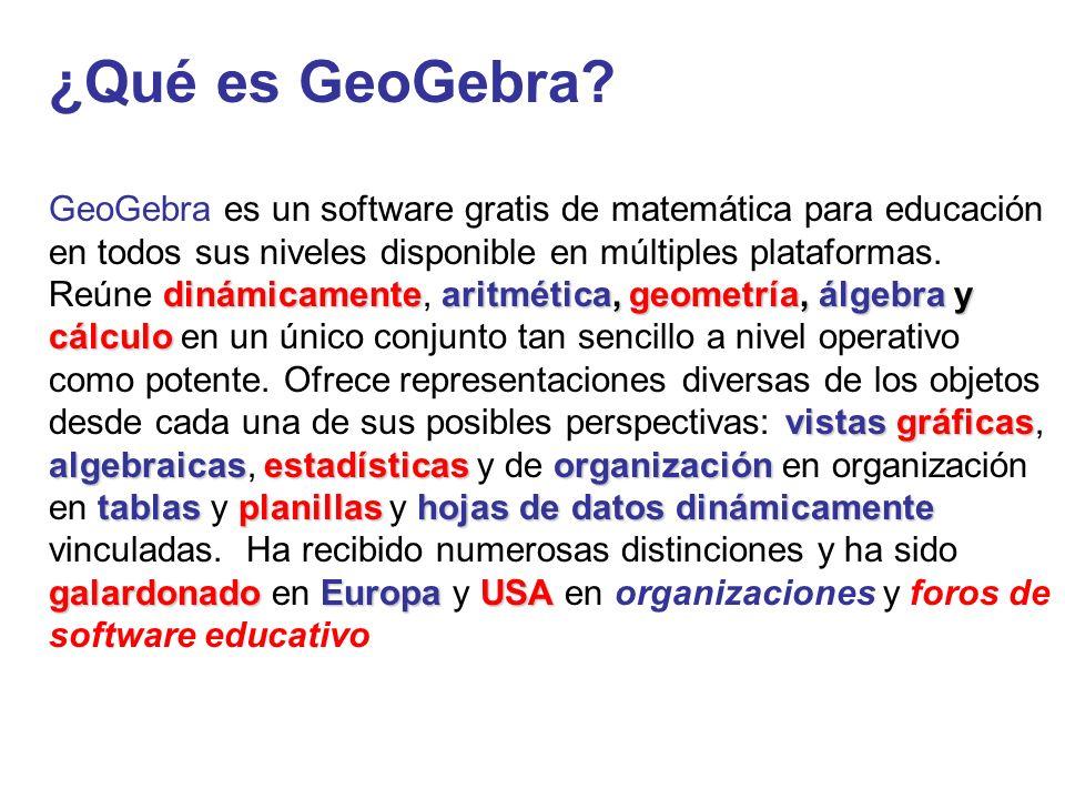 ¿Qué es GeoGebra? dinámicamentearitmética, geometría, álgebra y cálculo vistasgráficas algebraicasestadísticasorganización tablas planillashojas de da