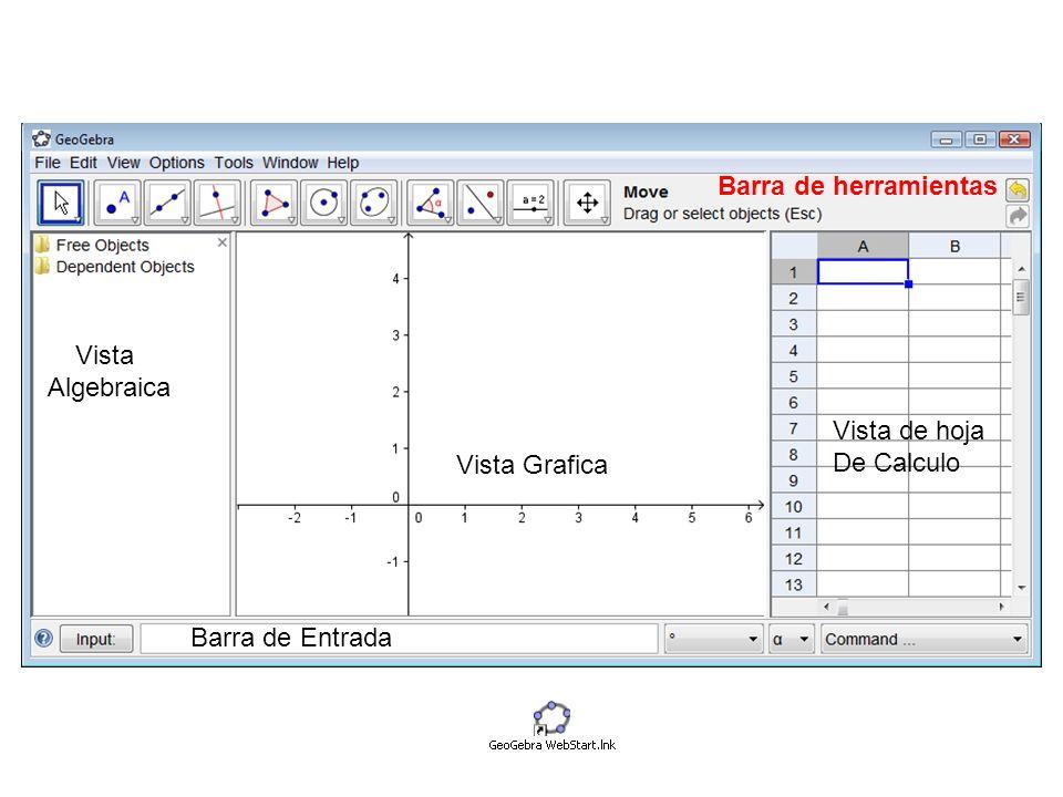 Vista Algebraica Vista Grafica Vista de hoja De Calculo Barra de Entrada Barra de herramientas