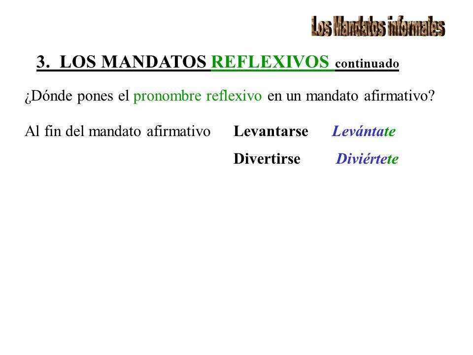 3. LOS MANDATOS REFLEXIVOS continuado ¿Dónde pones el pronombre reflexivo en un mandato afirmativo.