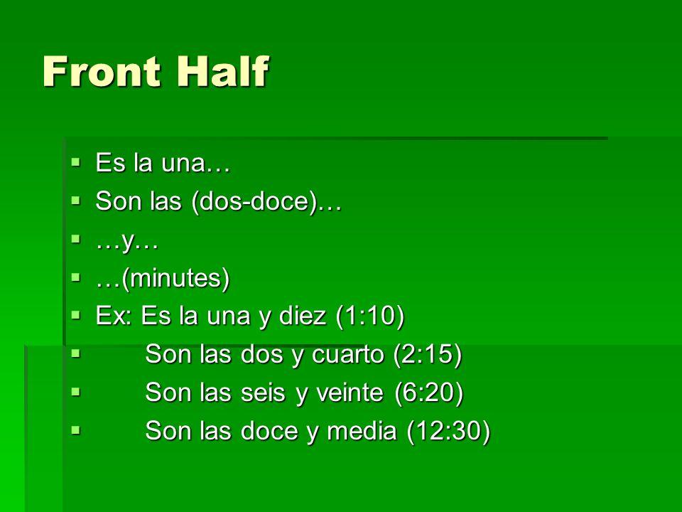 Front Half Es la una… Es la una… Son las (dos-doce)… Son las (dos-doce)… …y… …y… …(minutes) …(minutes) Ex: Es la una y diez (1:10) Ex: Es la una y diez (1:10) Son las dos y cuarto (2:15) Son las dos y cuarto (2:15) Son las seis y veinte (6:20) Son las seis y veinte (6:20) Son las doce y media (12:30) Son las doce y media (12:30)