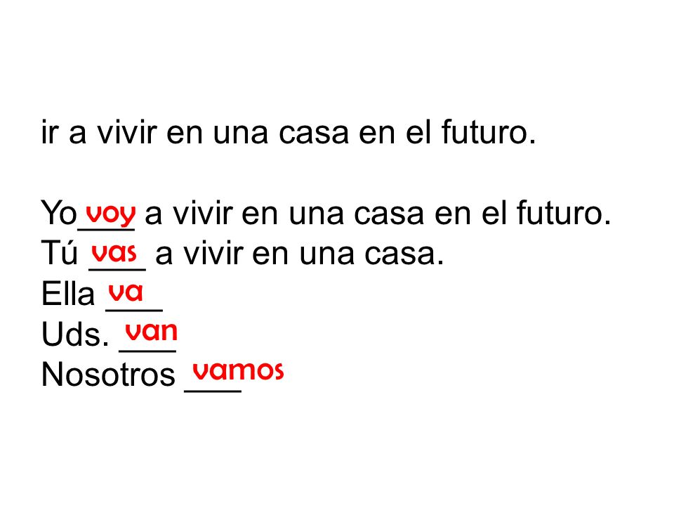 ir a vivir en una casa en el futuro. Yo___ a vivir en una casa en el futuro.
