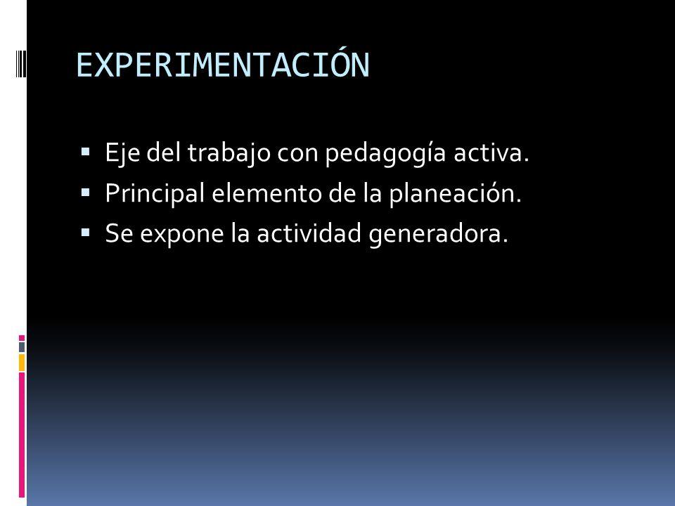 EXPERIMENTACIÓN Eje del trabajo con pedagogía activa. Principal elemento de la planeación. Se expone la actividad generadora.