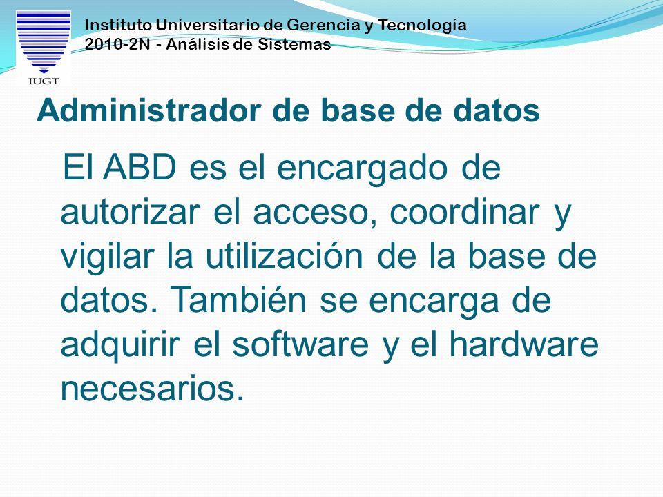 Instituto Universitario de Gerencia y Tecnología 2010-2N - Análisis de Sistemas Administrador de base de datos El ABD es el encargado de autorizar el
