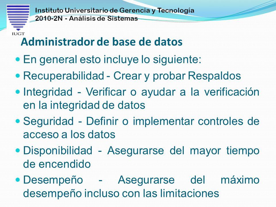 Instituto Universitario de Gerencia y Tecnología 2010-2N - Análisis de Sistemas Administrador de base de datos En general esto incluye lo siguiente: R