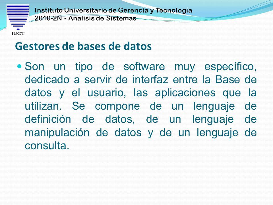 Instituto Universitario de Gerencia y Tecnología 2010-2N - Análisis de Sistemas Gestores de bases de datos Son un tipo de software muy específico, ded