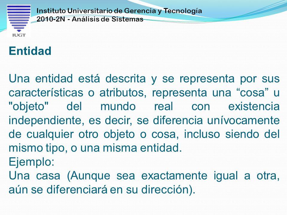 Instituto Universitario de Gerencia y Tecnología 2010-2N - Análisis de Sistemas Entidad Una entidad está descrita y se representa por sus característi