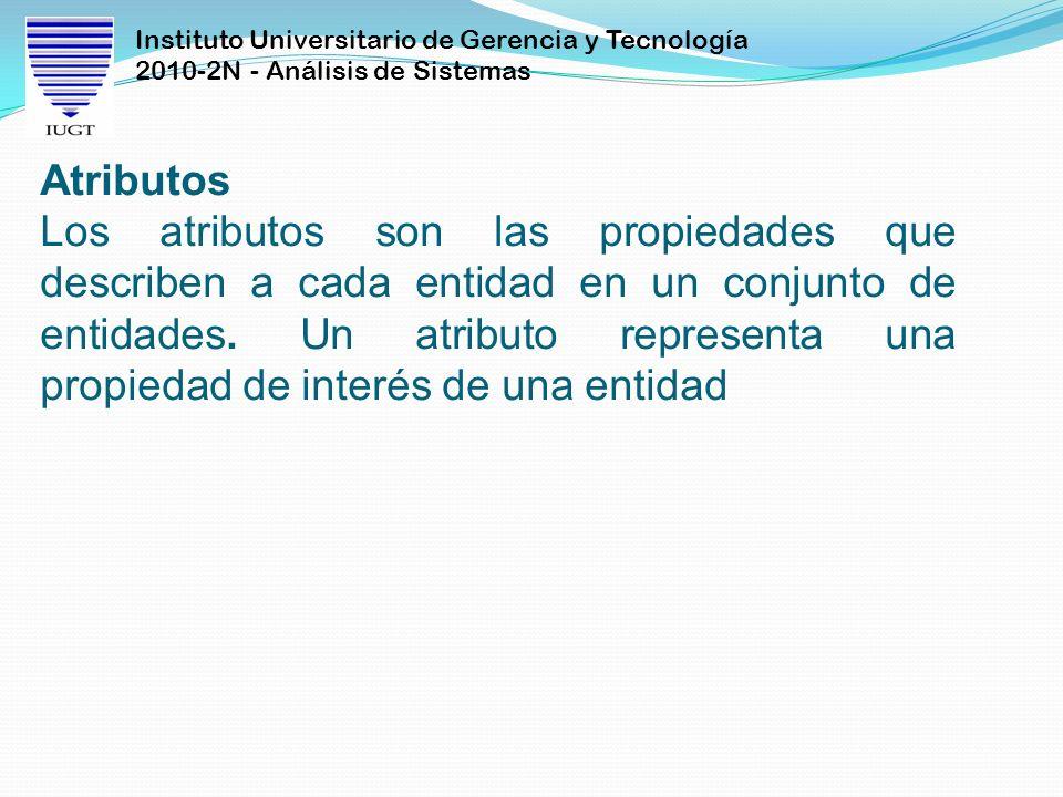 Instituto Universitario de Gerencia y Tecnología 2010-2N - Análisis de Sistemas Atributos Los atributos son las propiedades que describen a cada entid