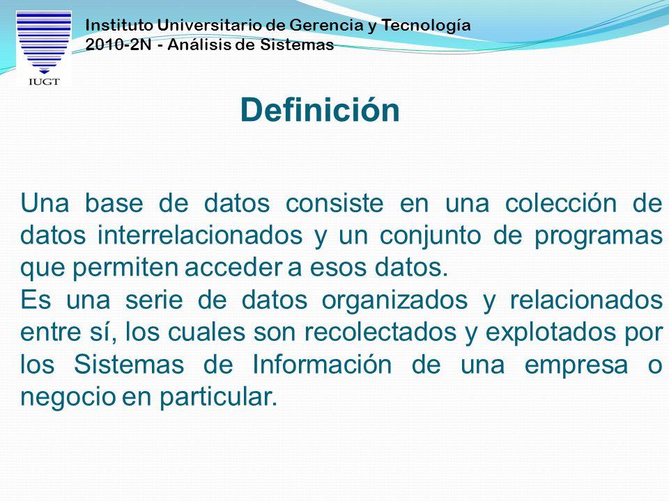 Instituto Universitario de Gerencia y Tecnología 2010-2N - Análisis de Sistemas Definición Una base de datos consiste en una colección de datos interr