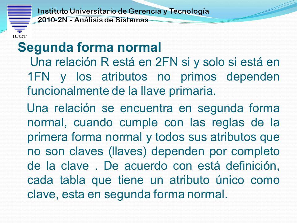 Instituto Universitario de Gerencia y Tecnología 2010-2N - Análisis de Sistemas Segunda forma normal Una relación R está en 2FN si y solo si está en 1