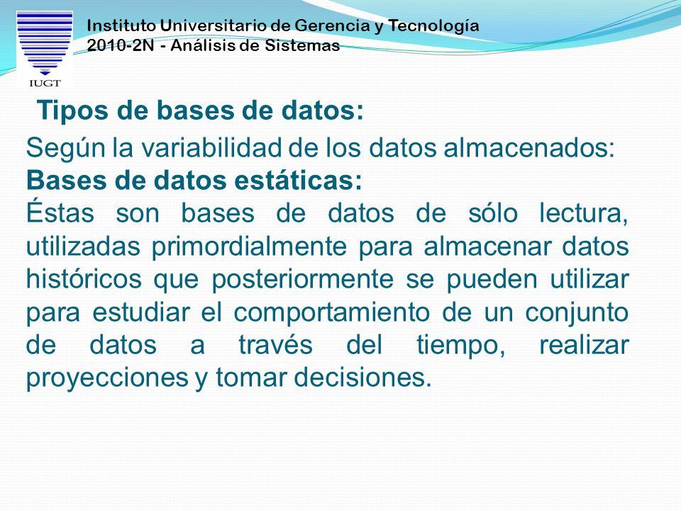 Instituto Universitario de Gerencia y Tecnología 2010-2N - Análisis de Sistemas Tipos de bases de datos: Según la variabilidad de los datos almacenado