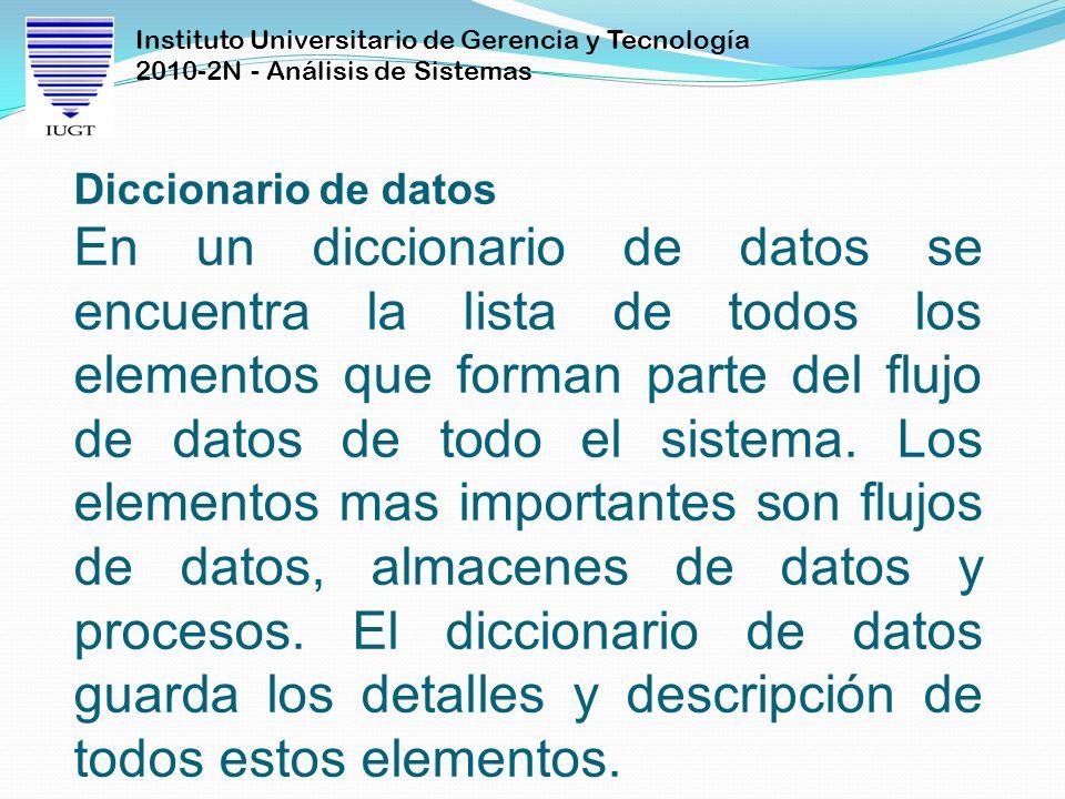 Instituto Universitario de Gerencia y Tecnología 2010-2N - Análisis de Sistemas Diccionario de datos En un diccionario de datos se encuentra la lista
