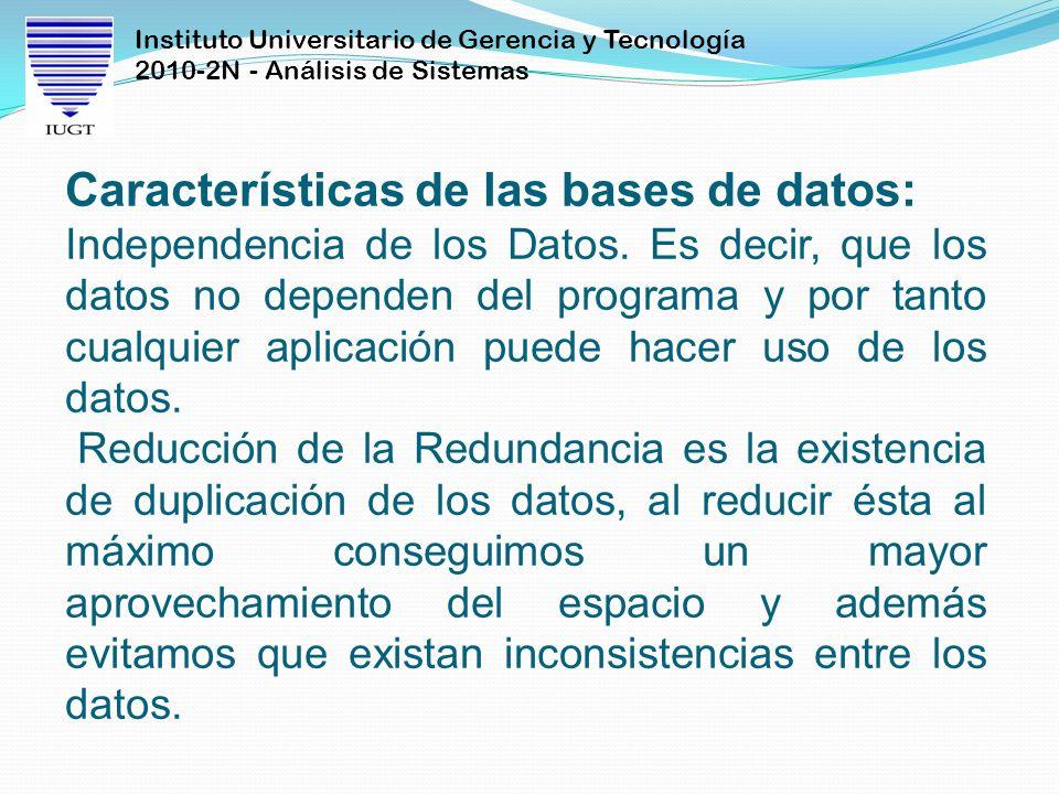 Instituto Universitario de Gerencia y Tecnología 2010-2N - Análisis de Sistemas Características de las bases de datos: Independencia de los Datos. Es