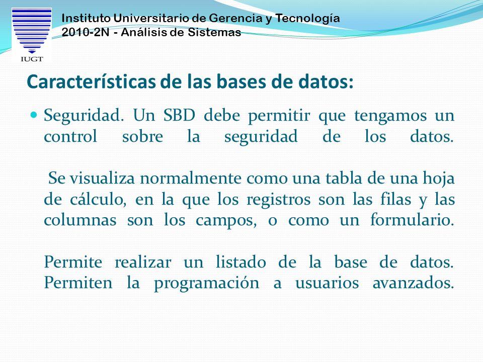 Instituto Universitario de Gerencia y Tecnología 2010-2N - Análisis de Sistemas Características de las bases de datos: Seguridad. Un SBD debe permitir