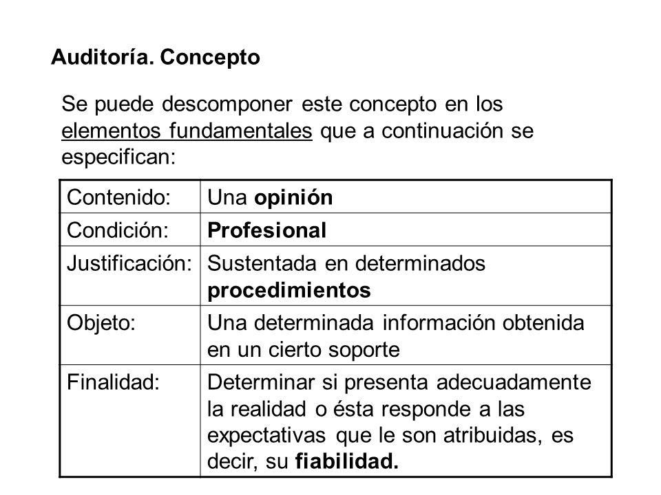 Auditoría. Concepto Se puede descomponer este concepto en los elementos fundamentales que a continuación se especifican: Contenido:Una opinión Condici
