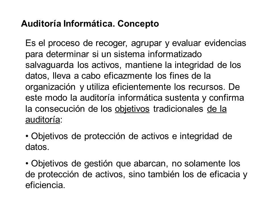 Auditoría Informática. Concepto Es el proceso de recoger, agrupar y evaluar evidencias para determinar si un sistema informatizado salvaguarda los act