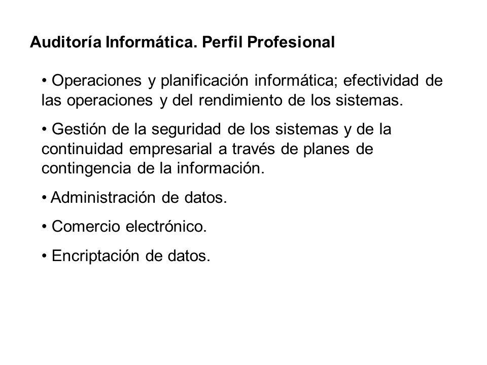 Auditoría Informática. Perfil Profesional Operaciones y planificación informática; efectividad de las operaciones y del rendimiento de los sistemas. G