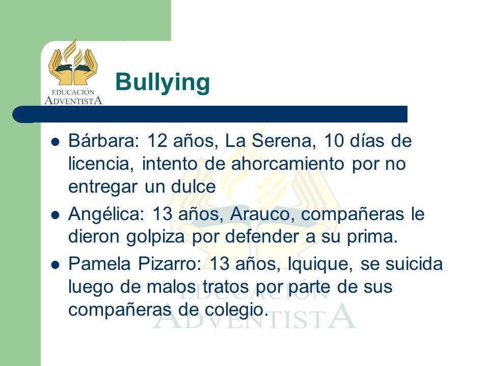 Bárbara: 12 años, La Serena, 10 días de licencia, intento de ahorcamiento por no entregar un dulce Angélica: 13 años, Arauco, compañeras le dieron gol