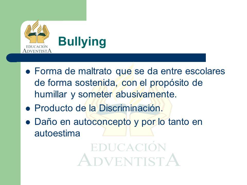Forma de maltrato que se da entre escolares de forma sostenida, con el propósito de humillar y someter abusivamente. Producto de la Discriminación. Da